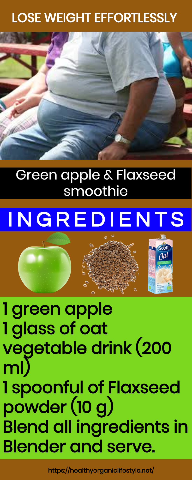 Green apple and Flaxseed smoothie